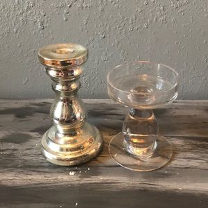 Mismatched silver/clear Candle holders set of 2